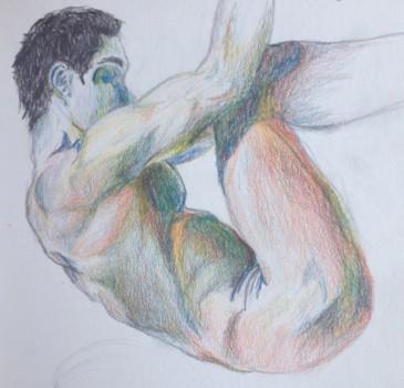 Cuauhtémoc Islas, 2015. Estudio de anatomía con lápiz de cera multimina.