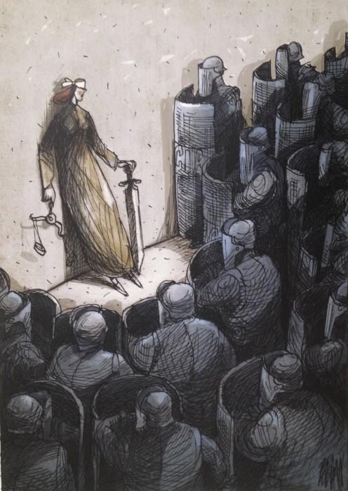 """Caricatura de Ángel Boligán """"Boligán"""" expuesta en la Universidad del Claustro de Sor Juana"""