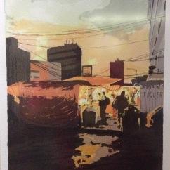 """Cuauhtémoc Islas, """"Paisaje Urbano, Ciudad de México"""", 2014. Serigrafía 15 tintas"""