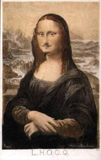 """Marcel Duchamp """"L.H.O.O.Q."""" 1919. La leyenda es un juego de palabras en francés en las que se lee: """"Ella tiene el culo caliente"""""""