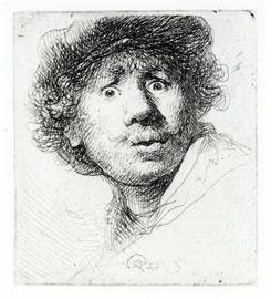 Rembrandt van Ryn, El pintor boquiabierto, 1630. Aguafuerte