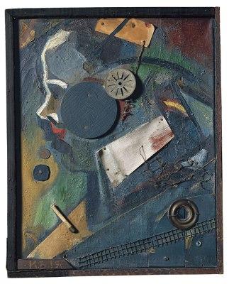 """Kurt Schwitters, """"Merzbild 1A (El psiquiatra)"""", 1919"""