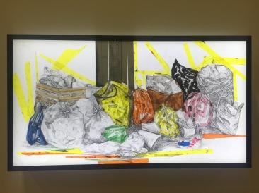 """Juan Bollas Herrera, """"Bodegón-1.0.1.1.0."""", 2016, Lápiz de grafito con cinta tape de color sobre mica de poliuretano"""