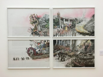 """Miguel Ángel Patricio José, """"Arrastre"""", 2016, Tinta y Acuarela sobre papel fabriano"""