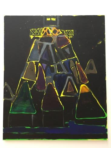 """Allan Hernández Villavicencio, """"Torre de Vigilancia"""", 2016, óleo y acrílico sobre tela"""