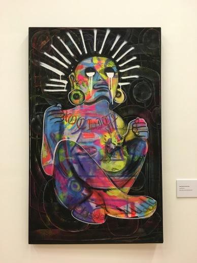 """Manuel Ruelas Pinedo (Fases), """"La Xóchitl"""", 2016, acrílico, aerosol y óleo sobre tela"""