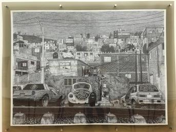 """Julio Alarcón, """"San Juan Ticomán"""", 2016, bolígrafo sobre papel."""