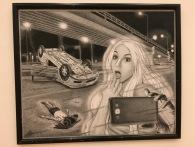"""Ricardo Chávez Hernández, """"Postmortem"""", 2016, puntilla negra sobre ilustración"""