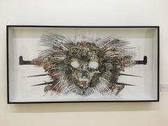 """Omar Arcega, """"Rorschach Totenkopf"""", 2016, collage, mixta sobre foamboard montado con alfileres"""