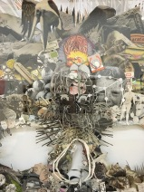 "Omar Arcega, ""Rorschach Totenkopf"" (detalle), 2016, collage, mixta sobre foamboard montado con alfileres"