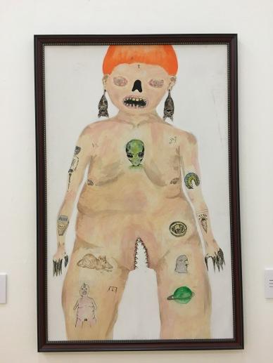 """Anallely García Bustos, """"Be Bop Kid"""", 2016, pintura acrílica, prismacolor, acuarela sobre minagris"""