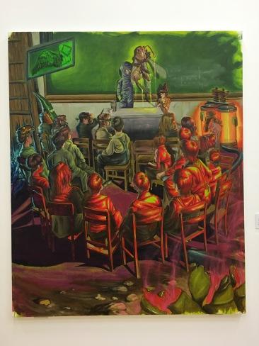 """Erick Saucedo López, """"Análisis y seminario de evasión"""", 2016, óleo y acrílico sobre lienzo"""