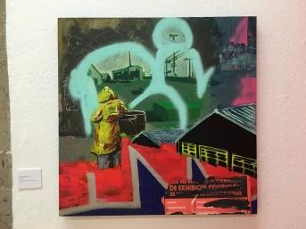 "Marcos González ""Foreman"", ""Playlist"", 2016, acrílico, collage, aerosol, óleo y óleo pastel sobre tabla"