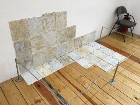 """César Noyola Dávalos, """"Memorias recicladas"""", 2016, papel reciclado creado con objetos, documentos escolares y 6300 colillas de cigarro usadas"""