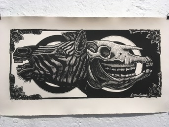 Mazatl, Extinción 21, linóleo, 2016