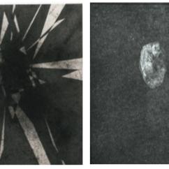 Javier Peláez, Piedra (díptico), polvo de carbón sobre papel y Heliograbado, 2016