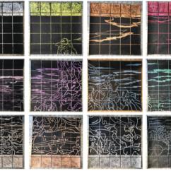 Álvaro Verduzco, Multiversos enfocados en un mismo movimiento, esgrafiado de crayola sobre papel, 2016