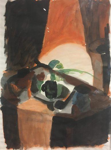 Enrique Echeverría, Mesa del estudio 2, Acuarela y tinta, 1958