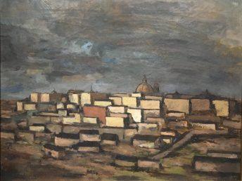 Enrique Echeverría, Paisaje de Madrid, Óleo, 1954