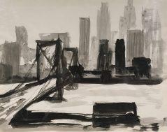 Enrique Echeverría, New York (puente), Tinta sobre papel, 1957