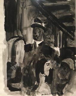 Enrique Echeverría, Por debajo del elevado NYC, Tina sobre papel, 1957