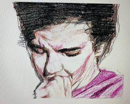 Ricardo Castro García, Ciclo - Drama juvenil (fotograma), lápiz de color, 2017