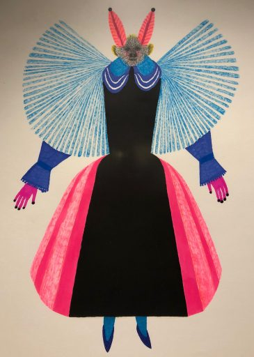 Jesús Cisneros, La Dama, Plumones y óleo, 2018