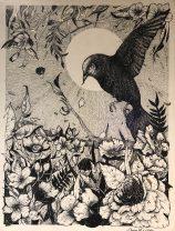 Diana Reyes, Black Bird, Tinta, 2018